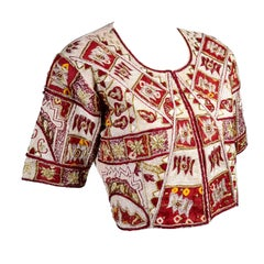 Vintage Choli or Saree Blouse in Maroon and Ivory Silk Gold Metallic Embroidery