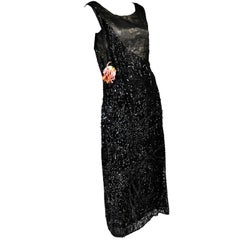Vintage Flapper 1920's Dress Black Beaded With Sequins
