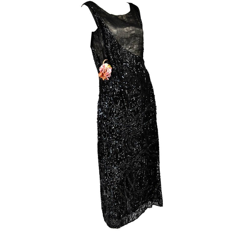Vintage Fler 1920 S Dress Black Beaded With Sequins For