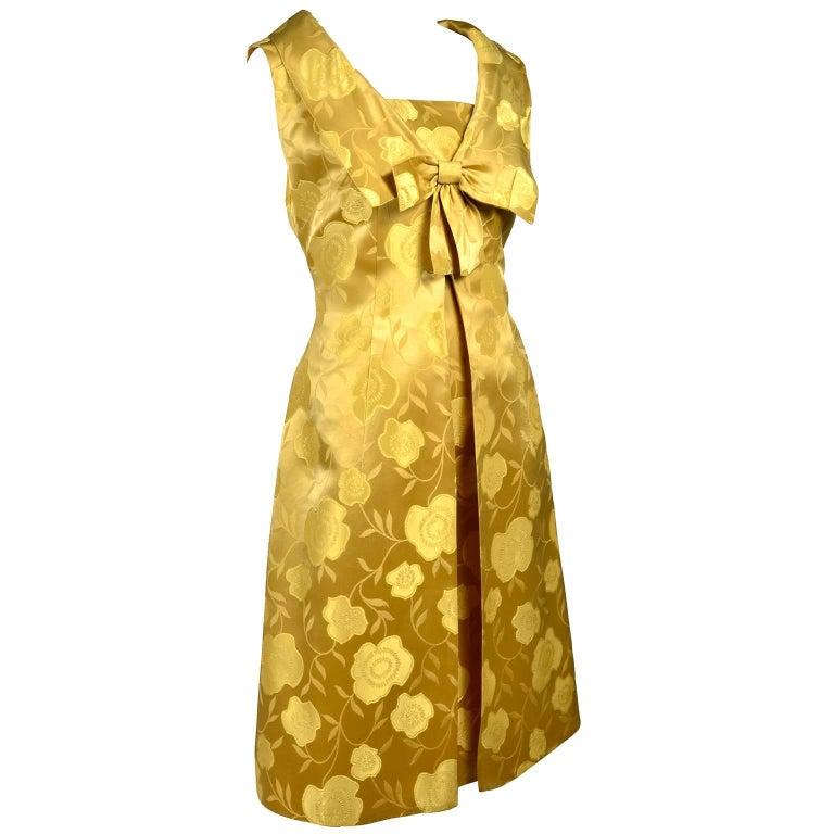 1960s Vintage Cocktail Dress Gold Brocade Satin W/ Sleeveless Bow Overdress