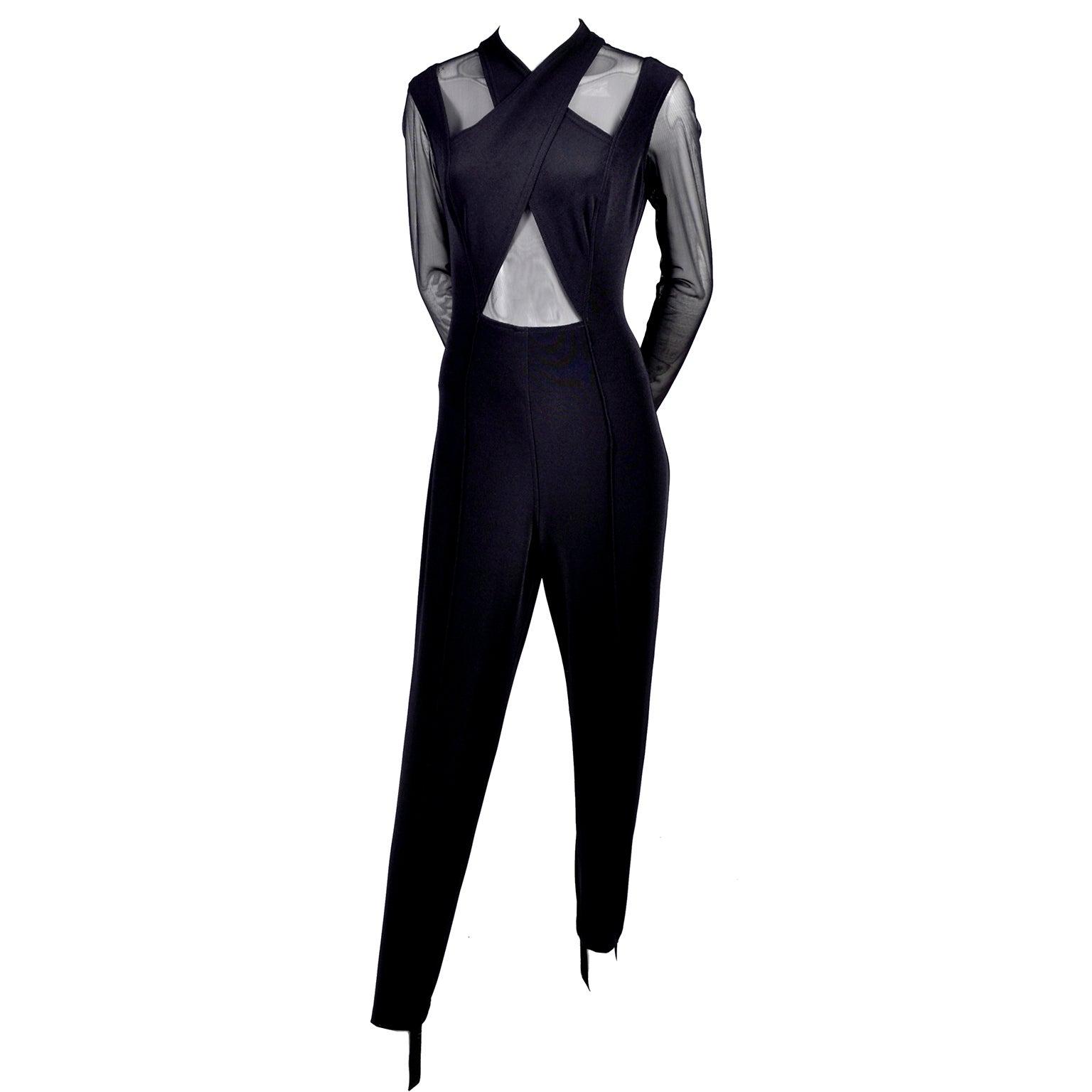 10d71a065b4b2 Black Stretch Tadashi Vintage Jumpsuit With Stirrups Sheer Illusion Halter  at 1stdibs