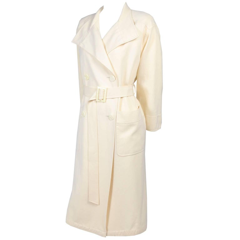 Valentino Vintage Coat Double Breasted Cream Wool Trench Coat