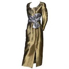 Stanley Platos Martin Ross Vintage Dress Mixed Metallic Evening Gown With Bow