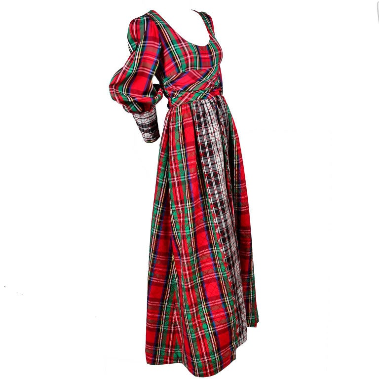 1960s Leo Narducci Vintage Holiday Dress Wide Leg Jumpsuit in Red Plaid