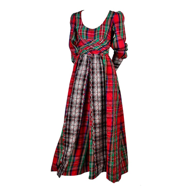 1960s Leo Narducci Vintage Holiday Dress Wide Leg Jumpsuit in Red Plaid In Good Condition In Portland, OR