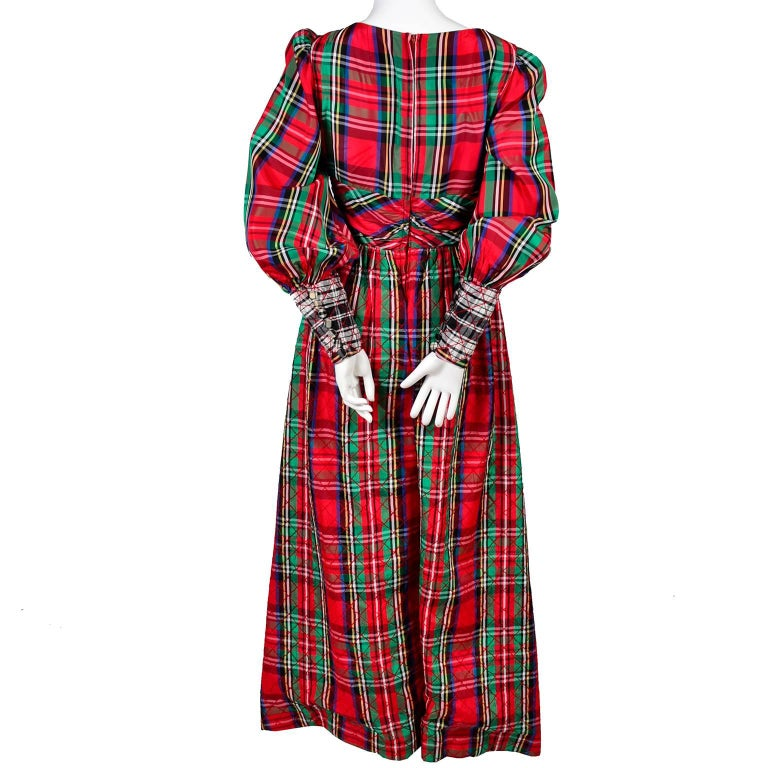 1960s Leo Narducci Vintage Holiday Dress Wide Leg Jumpsuit in Red Plaid For Sale 4
