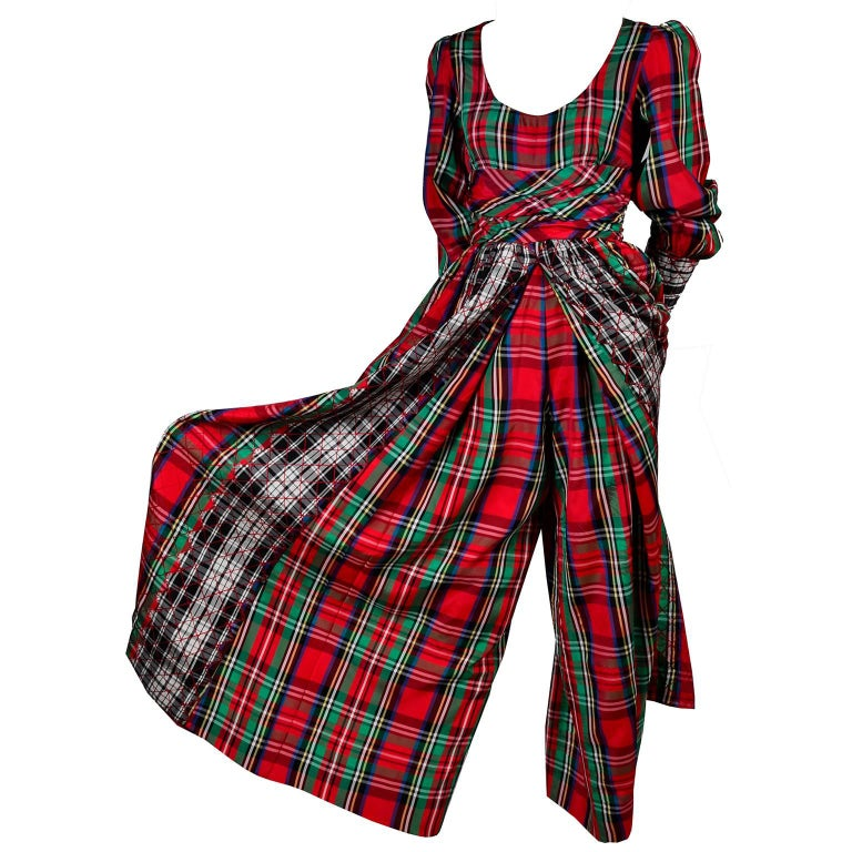 Black 1960s Leo Narducci Vintage Holiday Dress Wide Leg Jumpsuit in Red Plaid