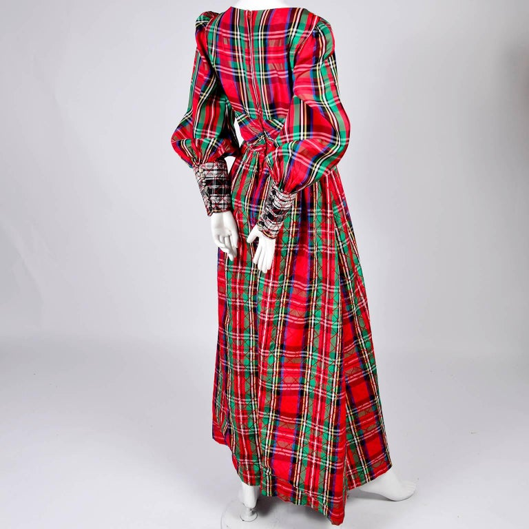Women's 1960s Leo Narducci Vintage Holiday Dress Wide Leg Jumpsuit in Red Plaid For Sale