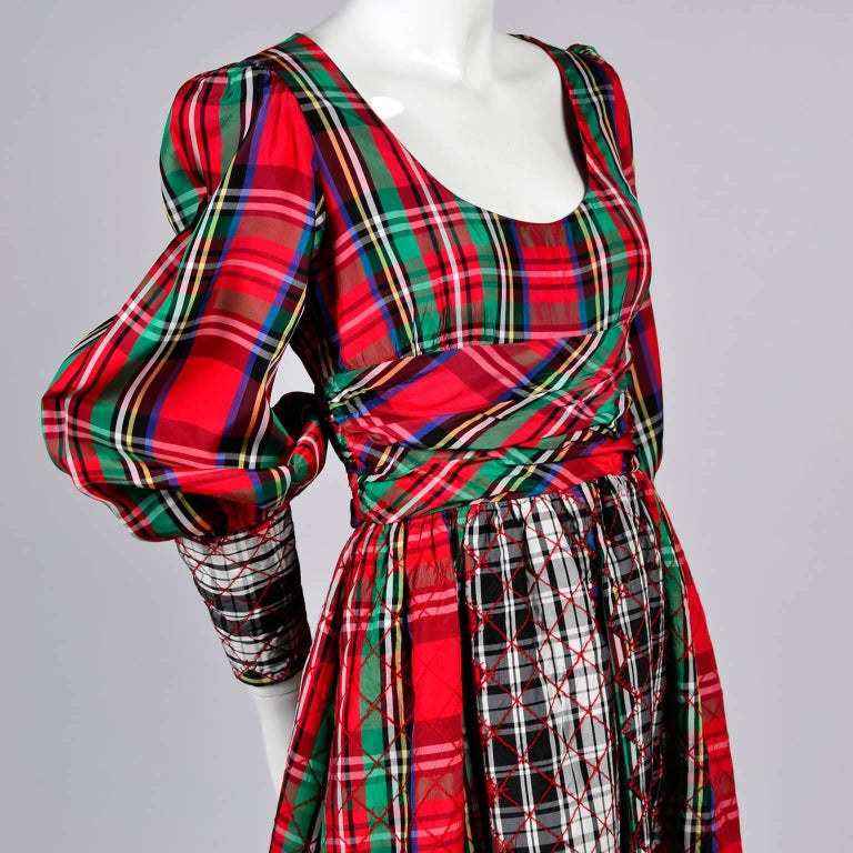 1960s Leo Narducci Vintage Holiday Dress Wide Leg Jumpsuit in Red Plaid For Sale 3