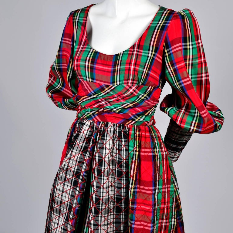 1960s Leo Narducci Vintage Holiday Dress Wide Leg Jumpsuit in Red Plaid For Sale 2