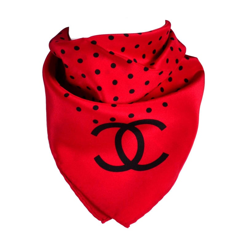 Vintage Chanel Scarf in Red & Black Dots Silk CC Logo Perfect Holiday Gift For Sale