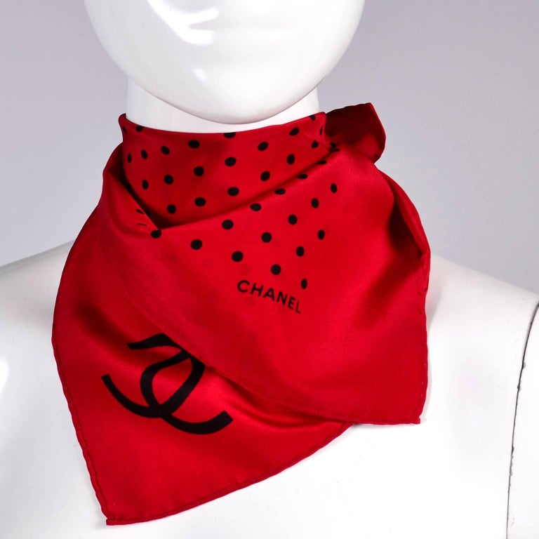 Vintage Chanel Scarf in Red & Black Dots Silk CC Logo Perfect Holiday Gift For Sale 2