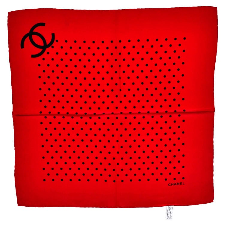 Vintage Chanel Scarf in Red & Black Dots Silk CC Logo Perfect Holiday Gift In Excellent Condition For Sale In Portland, OR