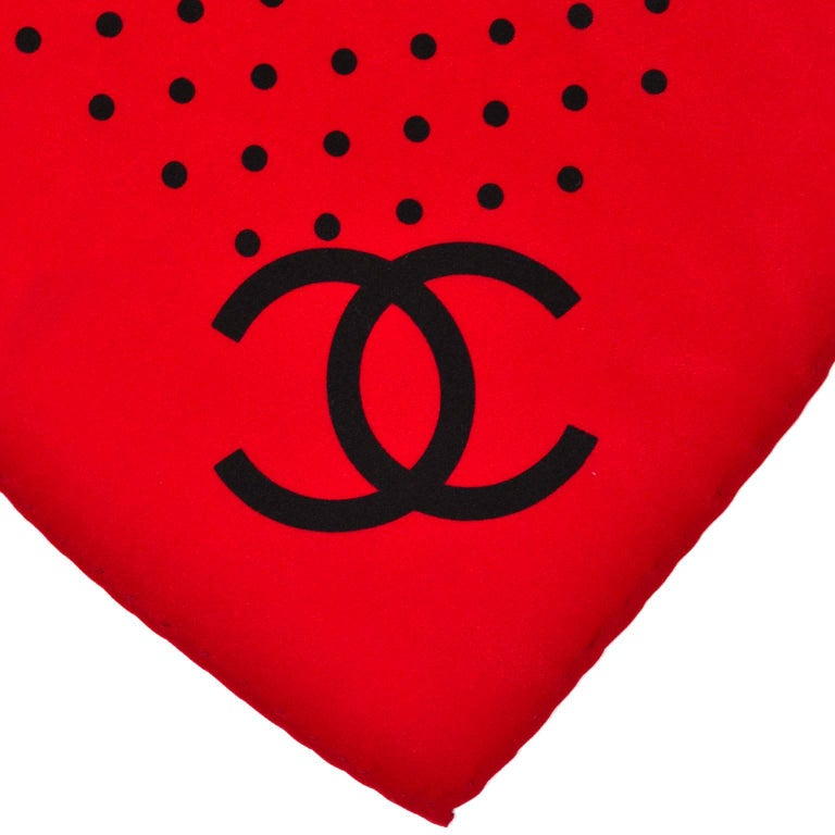 Vintage Chanel Scarf in Red & Black Dots Silk CC Logo Perfect Holiday Gift For Sale 1