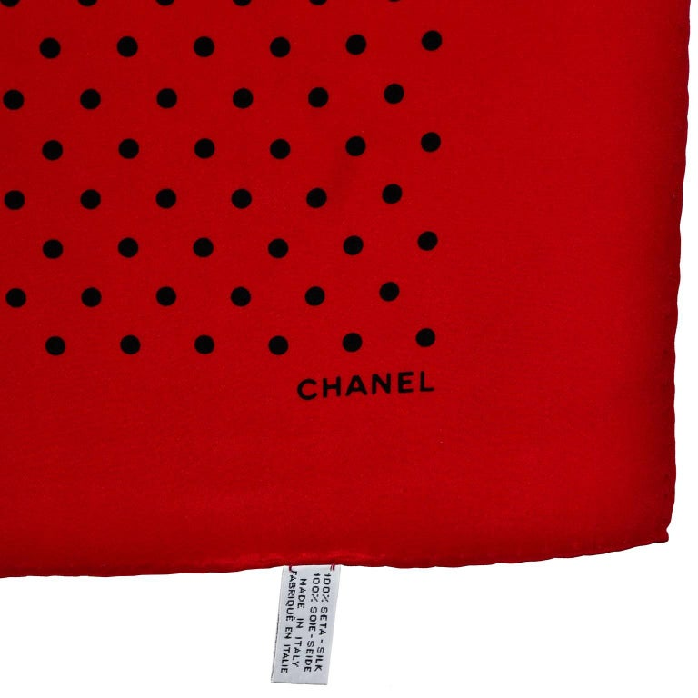 Women's Vintage Chanel Scarf in Red & Black Dots Silk CC Logo Perfect Holiday Gift For Sale