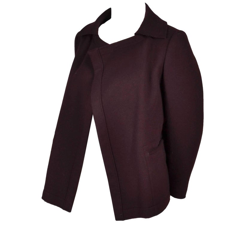 1980s Vintage Yohji Yamamoto Jacket Purple Plum Wool Raw Edge Open Front Style