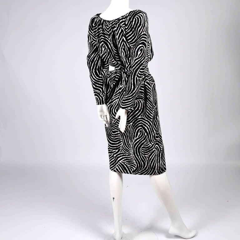 2 Pc YSL Yves Saint Laurent Vintage Dress in Black & White Zebra Print Silk  For Sale 2