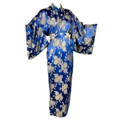 Japanese Vintage Kimono Robe in Blue Silk Gold Metallic chrysanthemum Embroidery