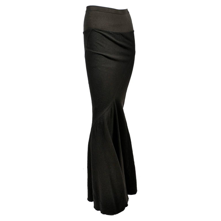 Bodycon Rick Owens Skirt in Dark Green Wool Asymmetric 2006 Queen Collection