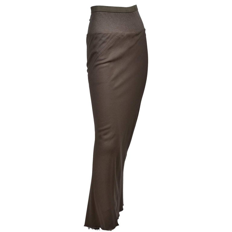 Rick Owens Distressed Brown Wool Skirt W/Fishtail Hem F/W 2008 Stag Collection