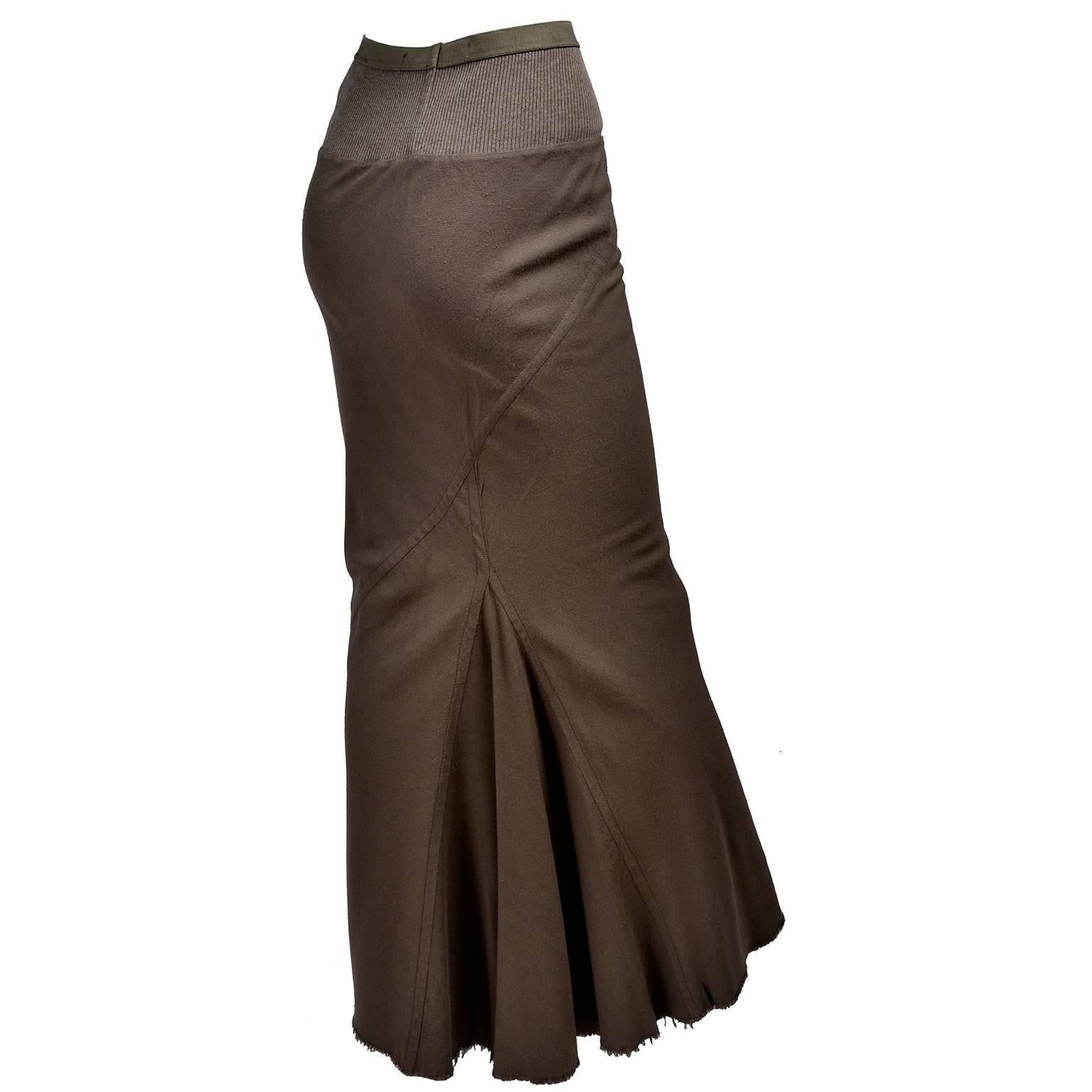 This is a body-con Rick Owens distressed maxi skirt from the Fall Winter  2008