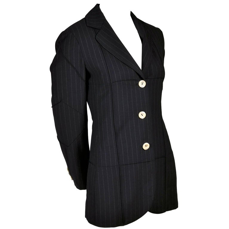 1990s Vintage Moschino Blazer in Navy Blue Pinstripe Wool Blend US Size 6