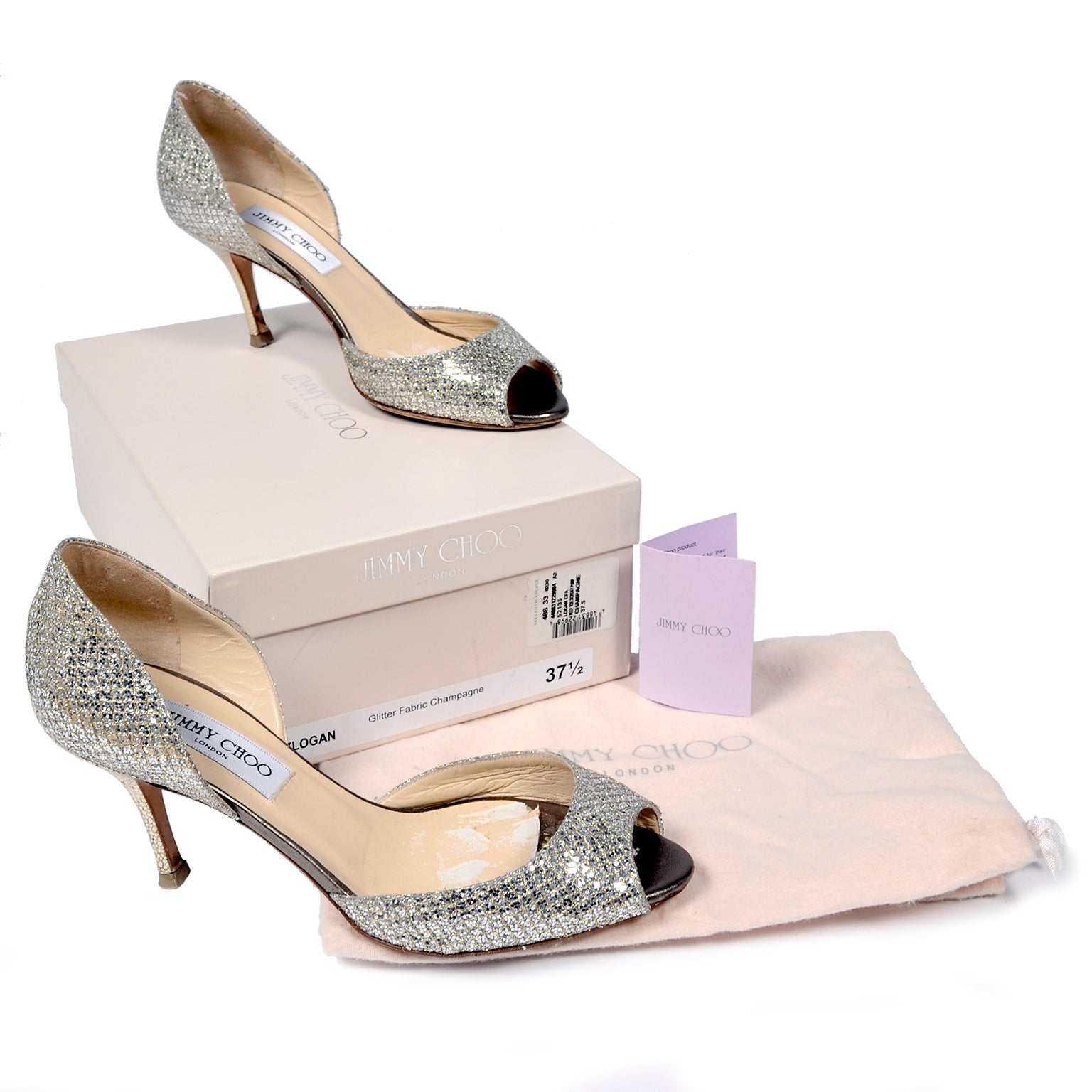a29cee0900 Jimmy Choo Shoes D'Orsay Pumps in Glitter Champagne Size 37.5 W/ Box and  Bag For Sale at 1stdibs