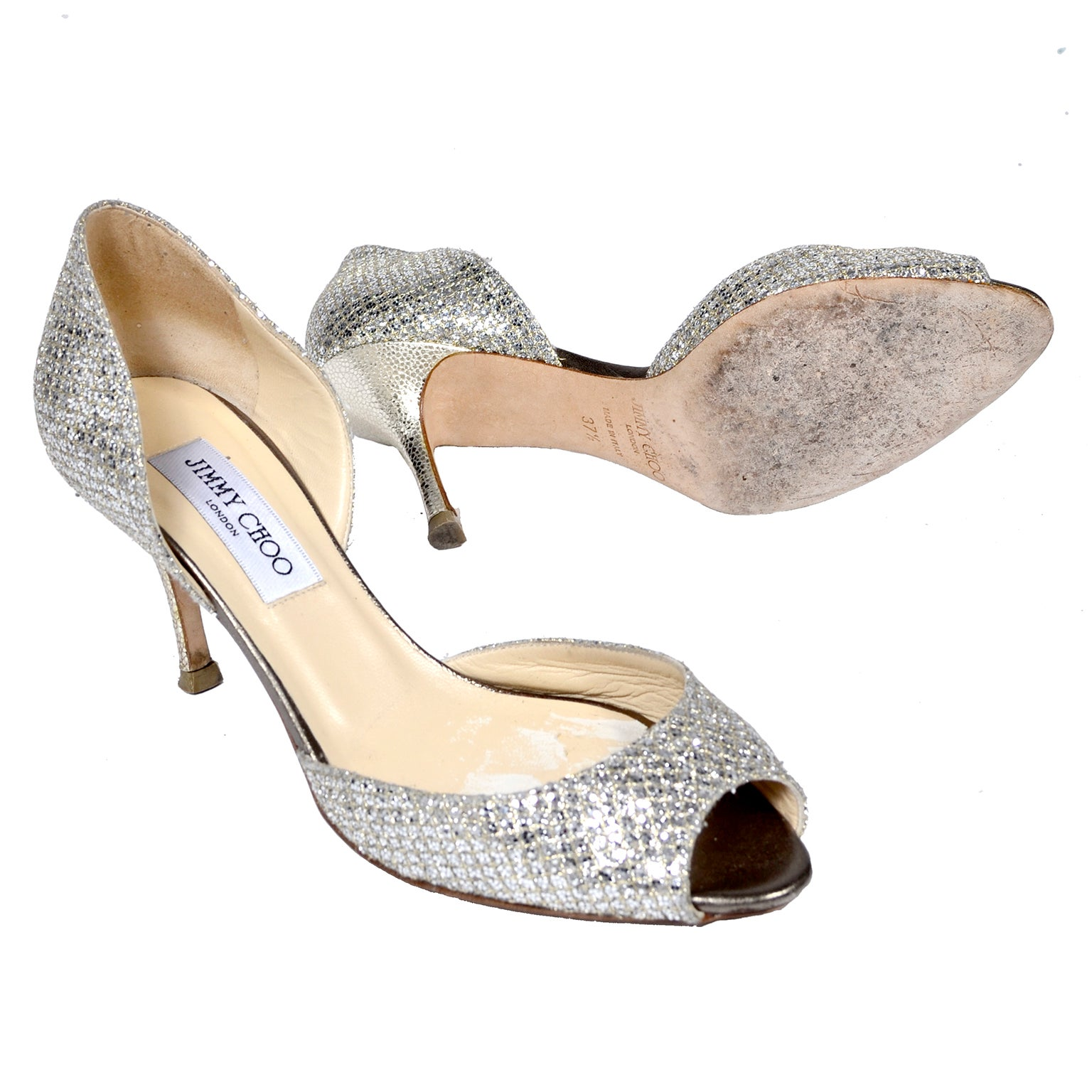 ad49a3d2badf Jimmy Choo Shoes D Orsay Pumps in Glitter Champagne Size 37.5 W  Box and  Bag For Sale at 1stdibs