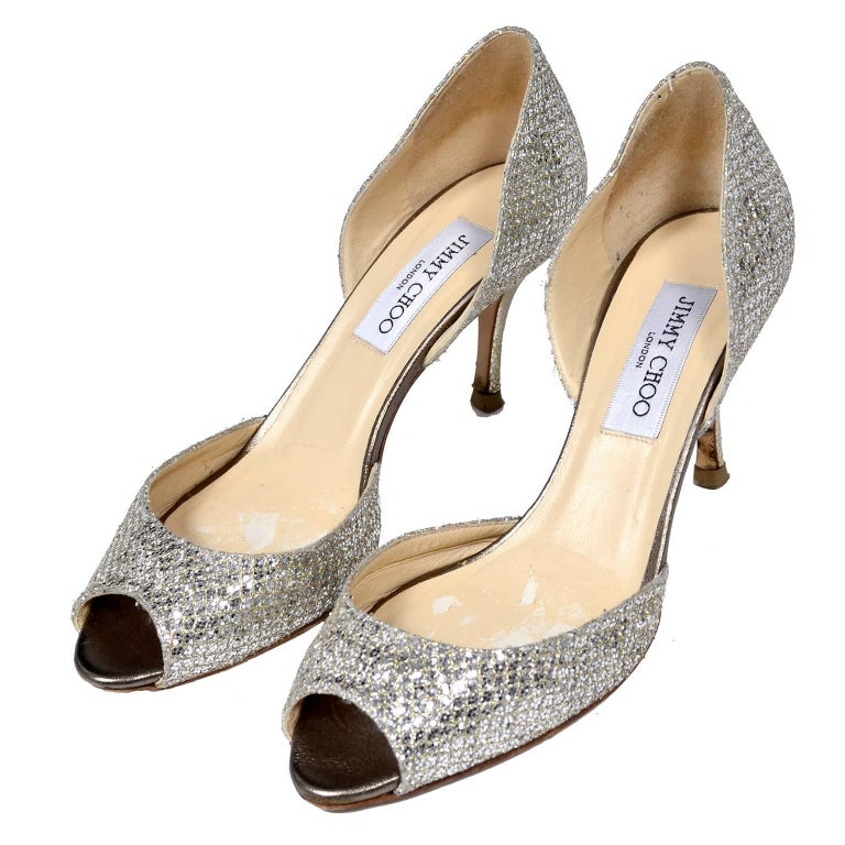 2844adfa09 Beige Jimmy Choo Shoes D'Orsay Pumps in Glitter Champagne Size 37.5 W/ Box