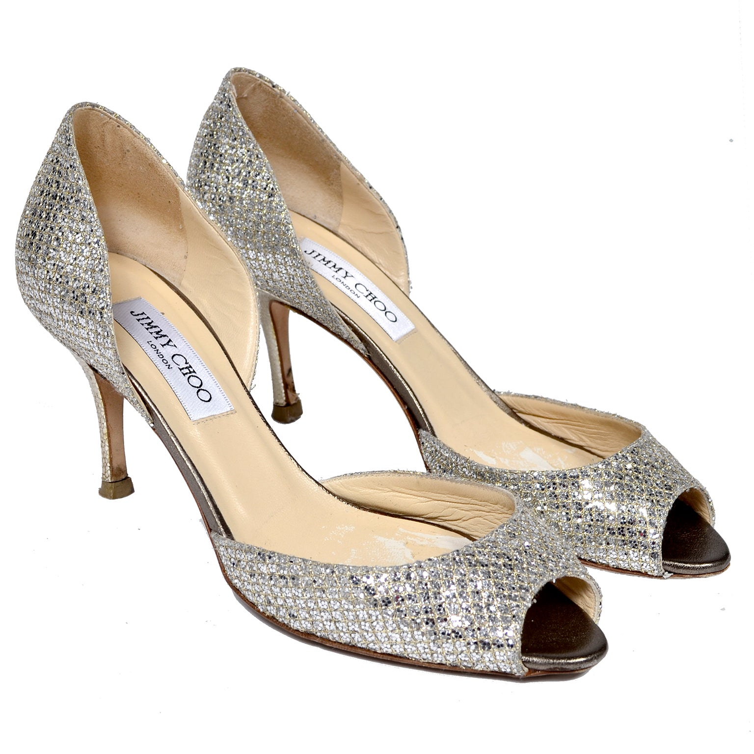 Jimmy Choo Shoes D'Orsay Pumps in Glitter Champagne Size 37.5 W/ Box & Bag