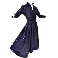 1950's Vintage Dress in Blue and White Silk Print From Designer Clothing Estate