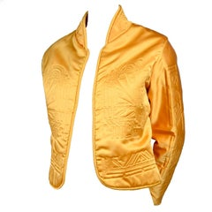 1980s Vintage Jacket in Art Deco Inspired Quilted Gold Silk Fabric