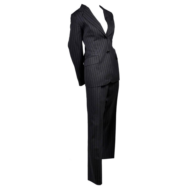 Dolce & Gabbana Vintage Charcoal Pinstripe Trouser Suit W/ blazer & Pants 48