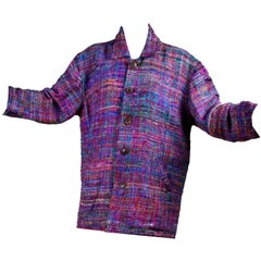 1980s Vintage Jacket in Multi Colored Silk Tweed