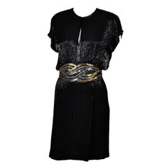 1980s Bob Mackie Vintage Dress Black Silver & Gold Beaded Cocktail Dress