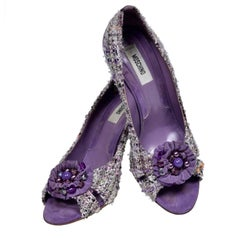 Vintage Open Toe Moschino Purple Tweed Shoes with Beaded Bows Rosettes Size 37