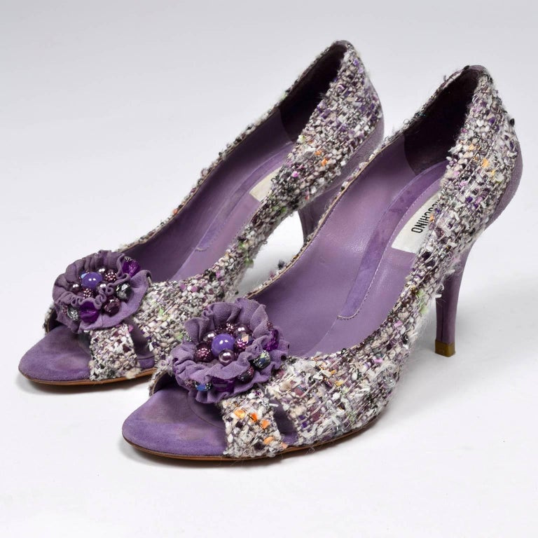 161fb1f4d4523 Vintage Open Toe Moschino Purple Tweed Shoes with Beaded Bows Rosettes Size  37