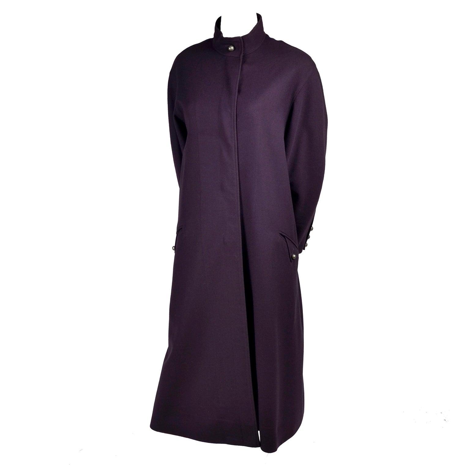 1980s Louis Feraud Purple Wool Vintage Coat With Pockets Size 34