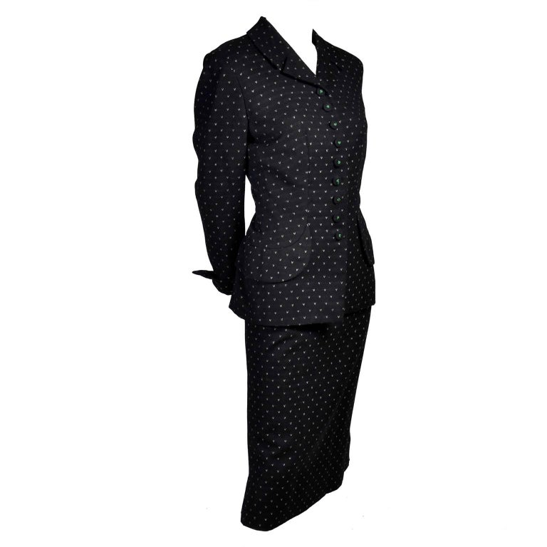 Irene Vintage Suit 1940s Skirt & Blazer Black & Ivory Wool Famous Aviator Estate