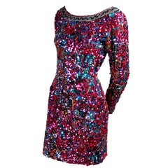 Silk Oleg Cassini Vintage Dress With Colorful Sequins & Beaded
