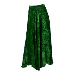 1970s Yves Saint Laurent YSL Vintage Skirt in Green Crushed Velvet