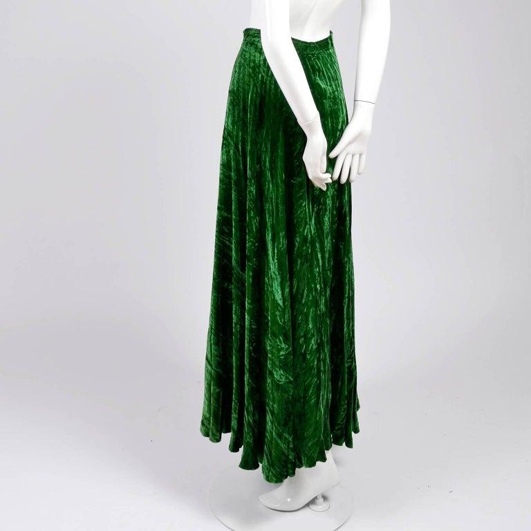 Women's 1970s Yves Saint Laurent YSL Vintage Skirt in Green Crushed Velvet For Sale