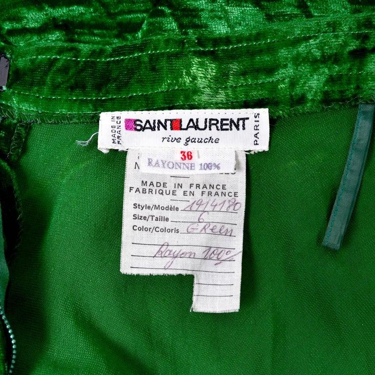 1970s Yves Saint Laurent YSL Vintage Skirt in Green Crushed Velvet For Sale 1