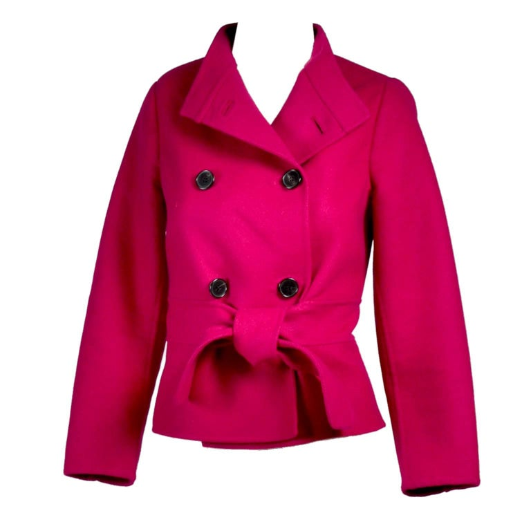 Valentino Jacket L'Amour Raspberry Red Size 4 Small For Sale