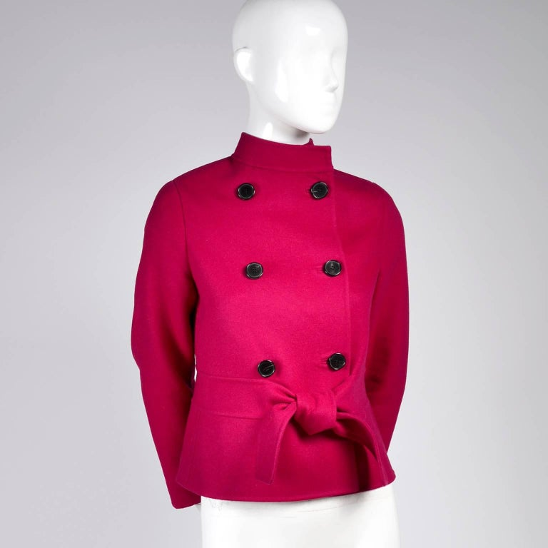 Valentino Jacket L'Amour Raspberry Red Size 4 Small For Sale 1