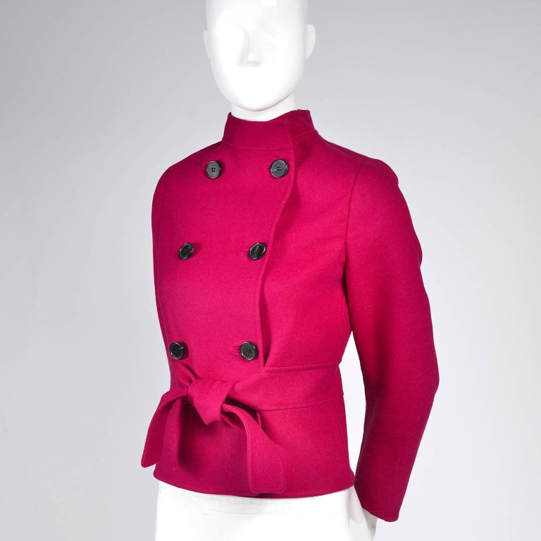 Valentino Jacket L'Amour Raspberry Red Size 4 Small In Excellent Condition For Sale In Portland, OR