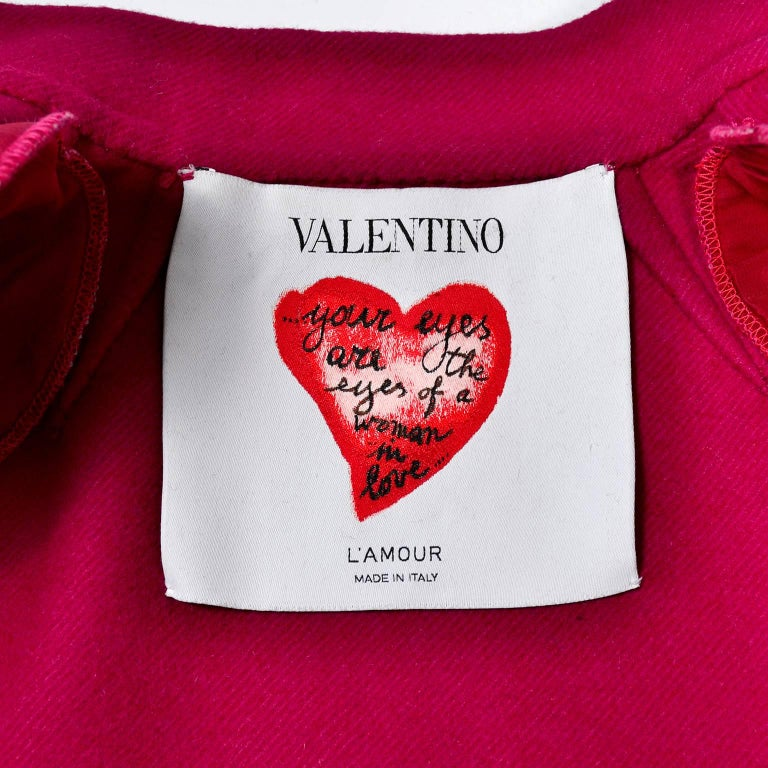 Valentino Jacket L'Amour Raspberry Red Size 4 Small For Sale 4