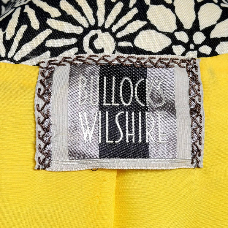 Bullocks Wilshire 1960s Skirt Suit in Floral Linen Print W Marigold Yellow Trim For Sale 4