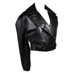 1980s Azzedine Alaia Vintage Jacket in Black Leather Made in France Size 38