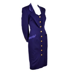 New 1980s Escada Vintage Dress in Tuxedo Style Purple Wool W/ Satin Trim w Tags